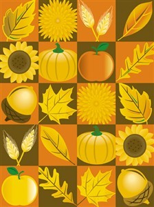 7318 Thanksgiving Card - Leaves acorns illust (Pack of 50)